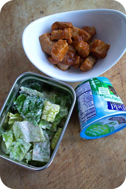 Easy lunch box ideas: sweet-and-sour pork; Caesar salad; and a yogurt. http://www.LunchBoxBlues.com