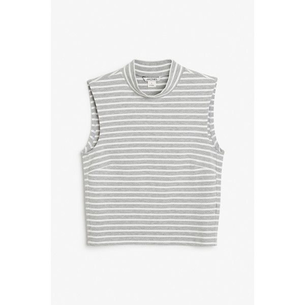 Monki High neck crop top (€2,37) ❤ liked on Polyvore featuring tops, sleek stripes, white top, stretch crop top, white striped top, high neck crop top and print crop tops