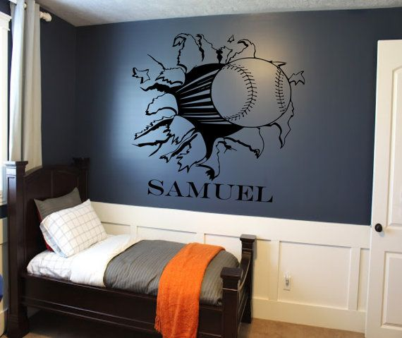 Custom Baseball Bursting Through Wall Decal Custom By SportsVinyl - Custom vinyl baseball decals