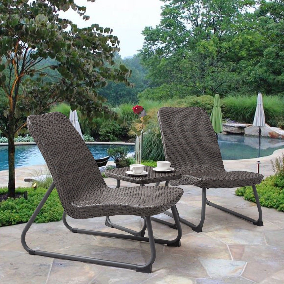 3 Pcs Outdoor All Weather Rattan Conversation Chair Table Set