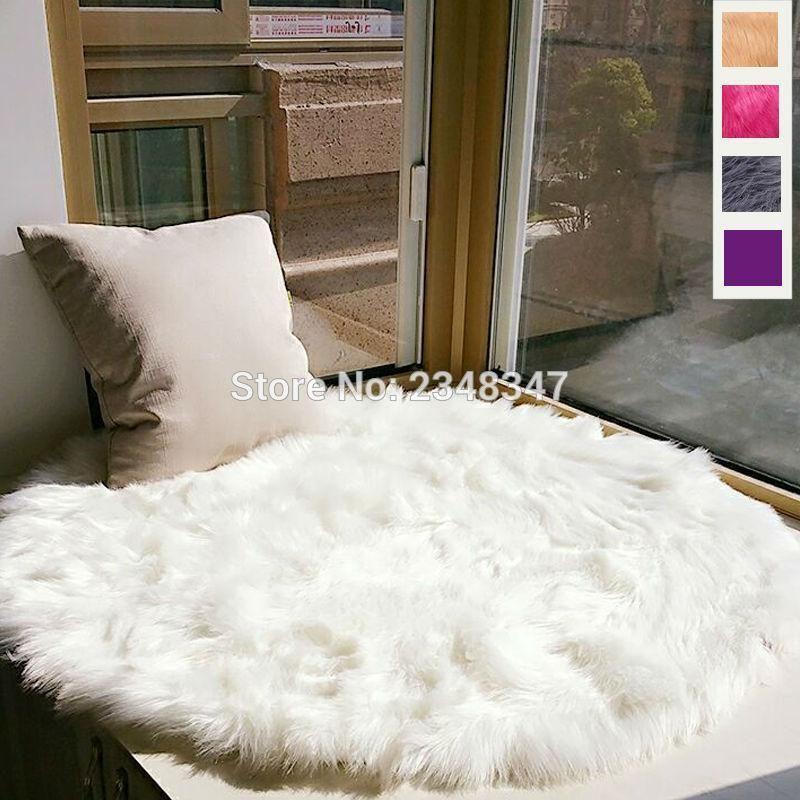 Best Fluffy Faux Fur Carpet Plain Rug Mat For Bedroom White 400 x 300