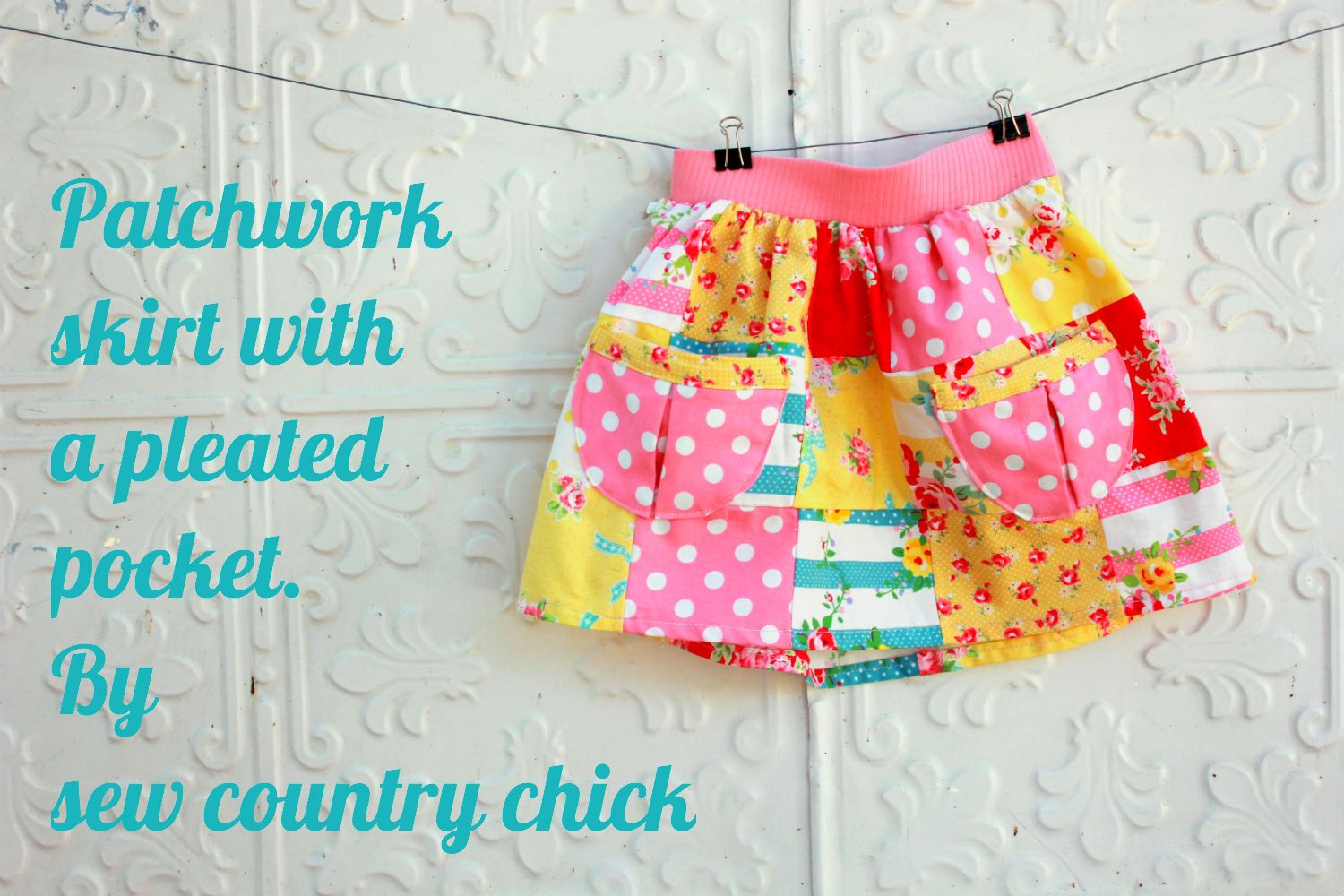 Patchwork girls skirt with pleated pockets tutorial || Sew Country Chick