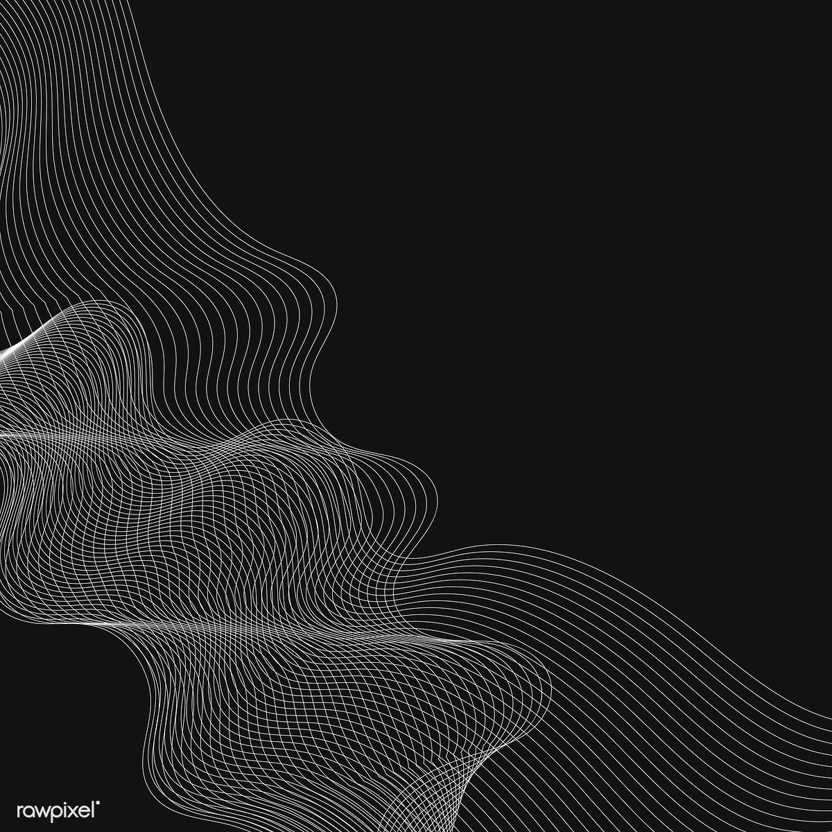White moiré wave on black background free image by