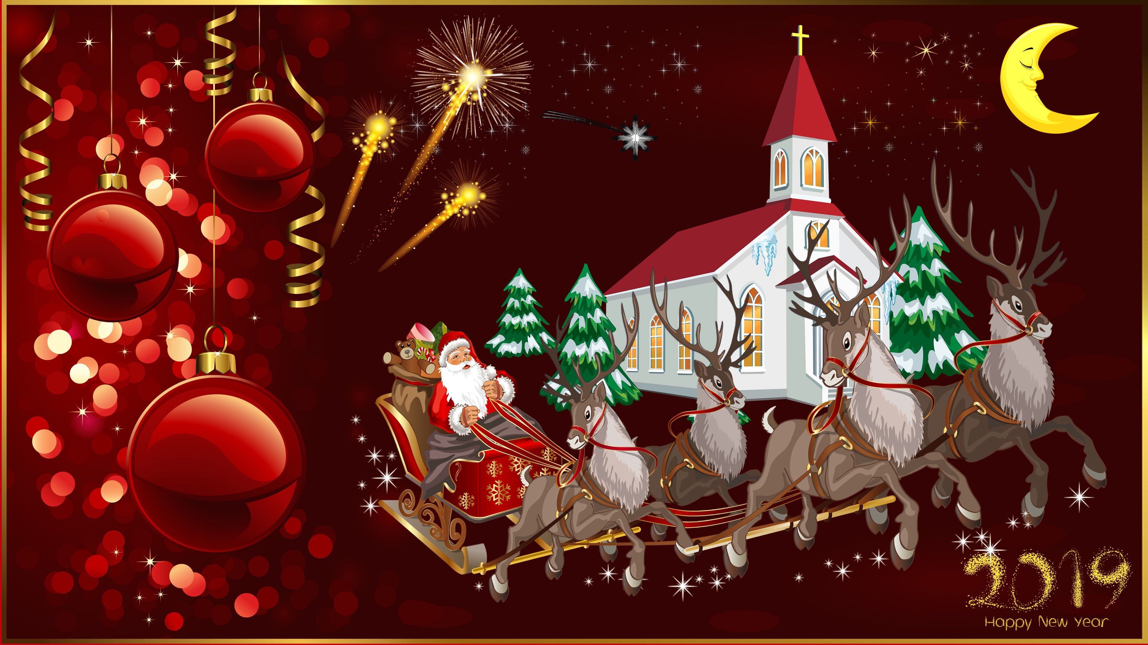 Happy New Year 2019 Merry Christmas Christmas Greeting Card Santa Claus And Reindeer Church Ch Happy Christmas Day Christmas Greetings Christmas Greeting Cards