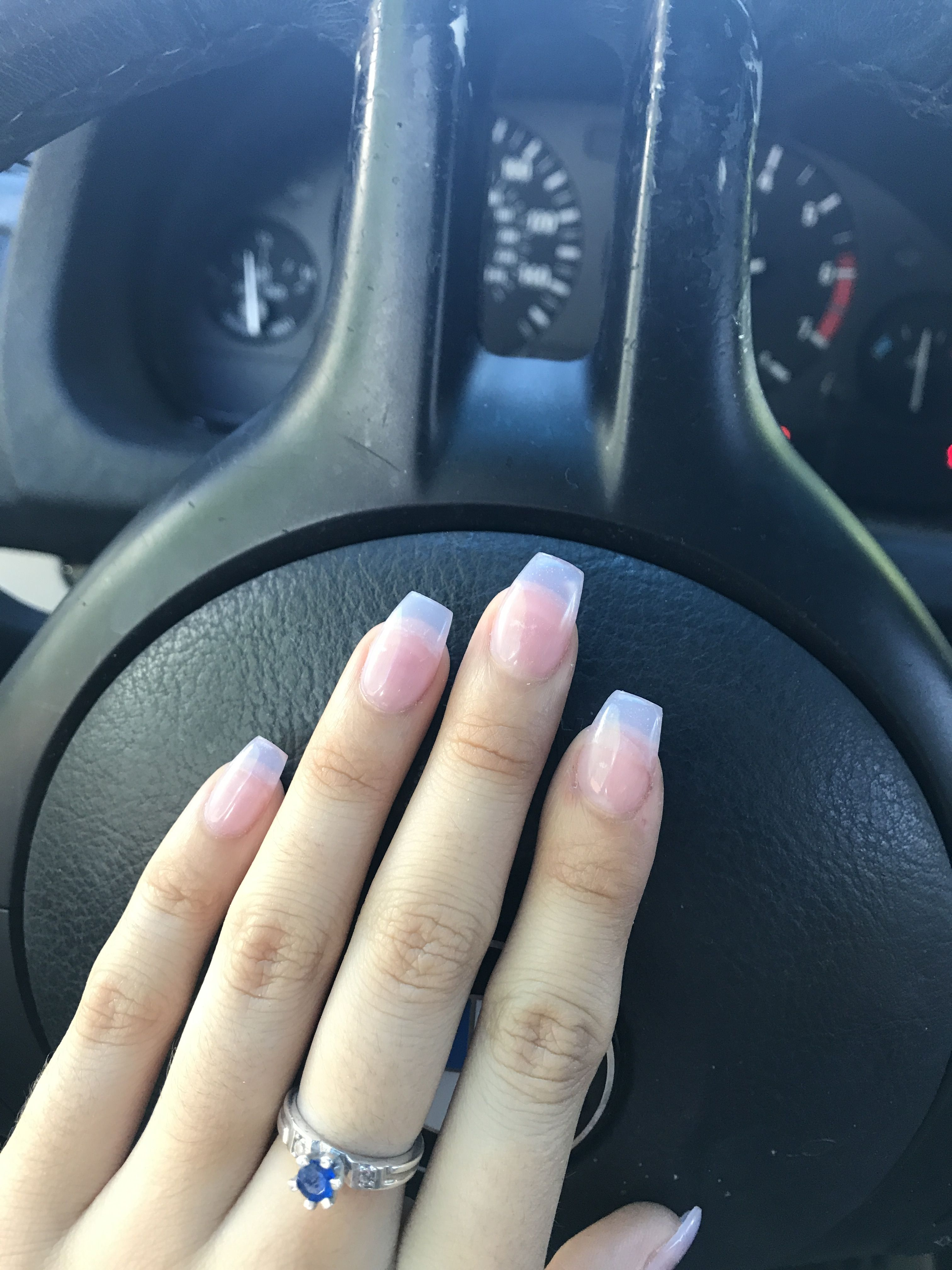 Clear Coffin Shaped Medium Length Acrylics My Number One Choice For Go To Nails Abbieramirez97 Done Clear Acrylic Nails Acrylic Nail Shapes Nail Shapes