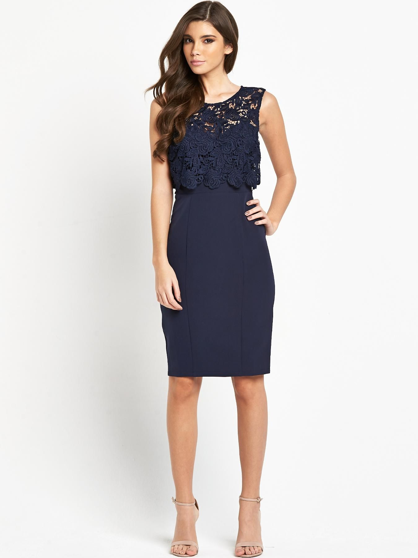 Lipsy Bandage Bodycon Dress With Lace Wrap Front in Black | Lyst · Formal  DressesWomen's ...