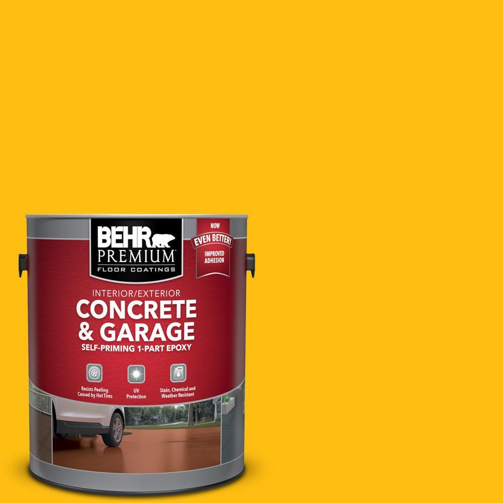 Behr Premium 1 Gal P290 7 Laser Lemon Self Priming 1 Part Epoxy Satin Interior Exterior Concrete And Garage Floor Paint 93001 Garage Floor Paint Painted Floors Flooring