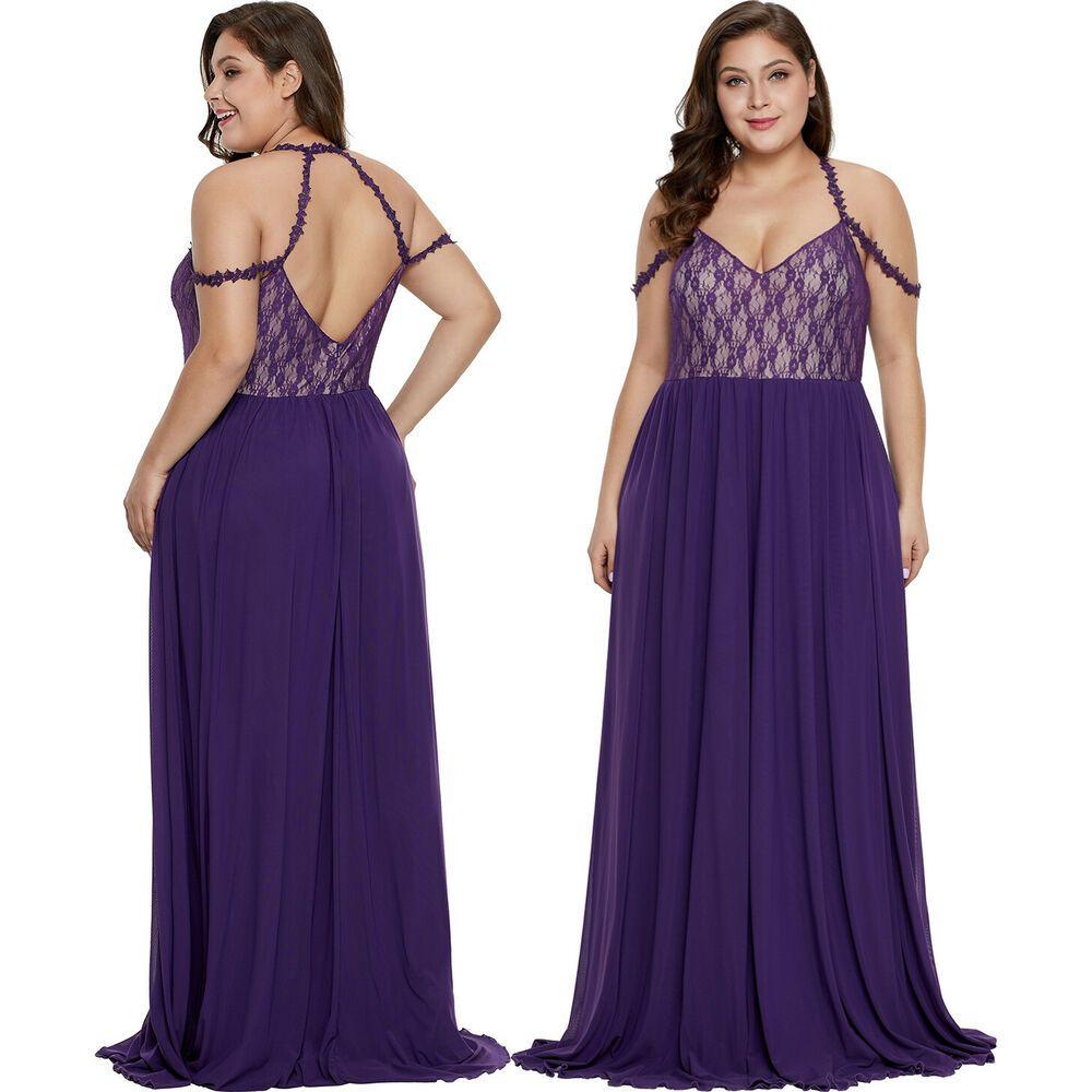 Details about purple lace bodice hollowout plus size maxi