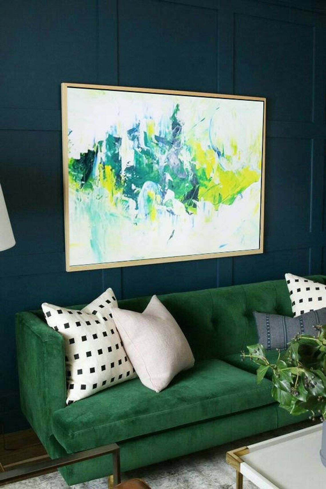 extra large wall art abstract green painting white on modern acrylic paintings for living room id=22395