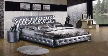 Best Tufted Silver Leather Platform Bed Modern Beds Luxury 400 x 300