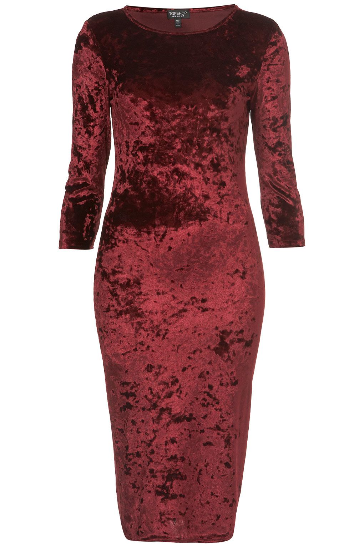 Topshop Crushed Velvet Midi Dress