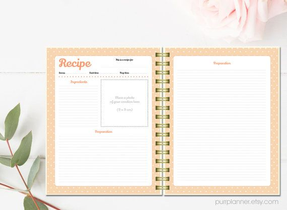 Printable Recipe Cards Personalized Binder Kit Letter Size Book Organizer Cookbook Template Blank