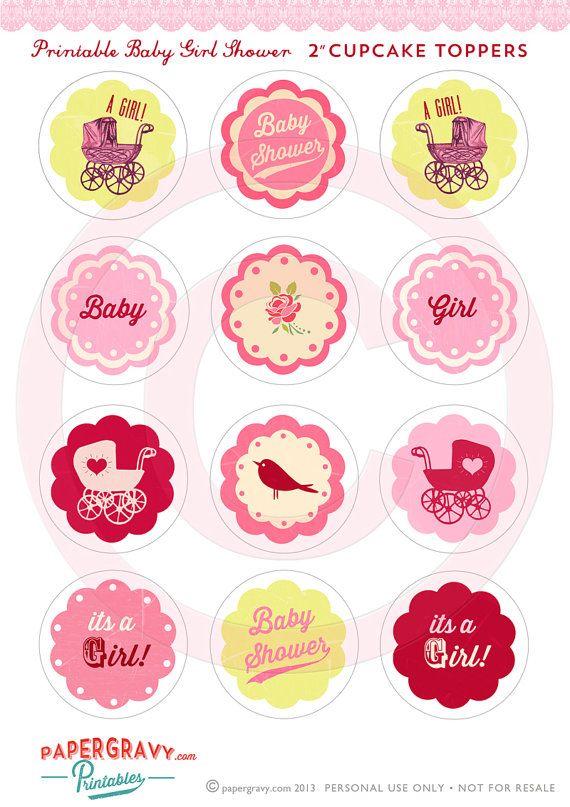 Diy Printable Baby Girl Shower Cupcake Toppers Ot Papergravystore 4 90 Baby Shower Cupcake Toppers Baby Girl Shower Cake Baby Girl Shower Cupcakes