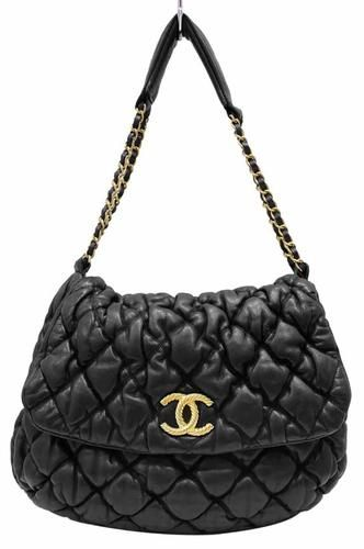 3cc5ac8f5019 Chanel Black Lambskin Bubble Puffy Quilted Hobo Shoulder Tote Bag ...