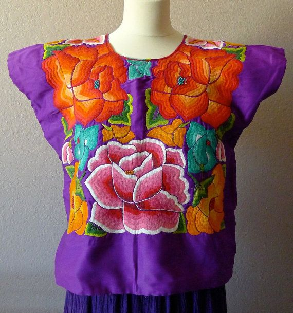 Mexican Embroidered Tehuana huipil Purple Satin by LivingTextiles ...