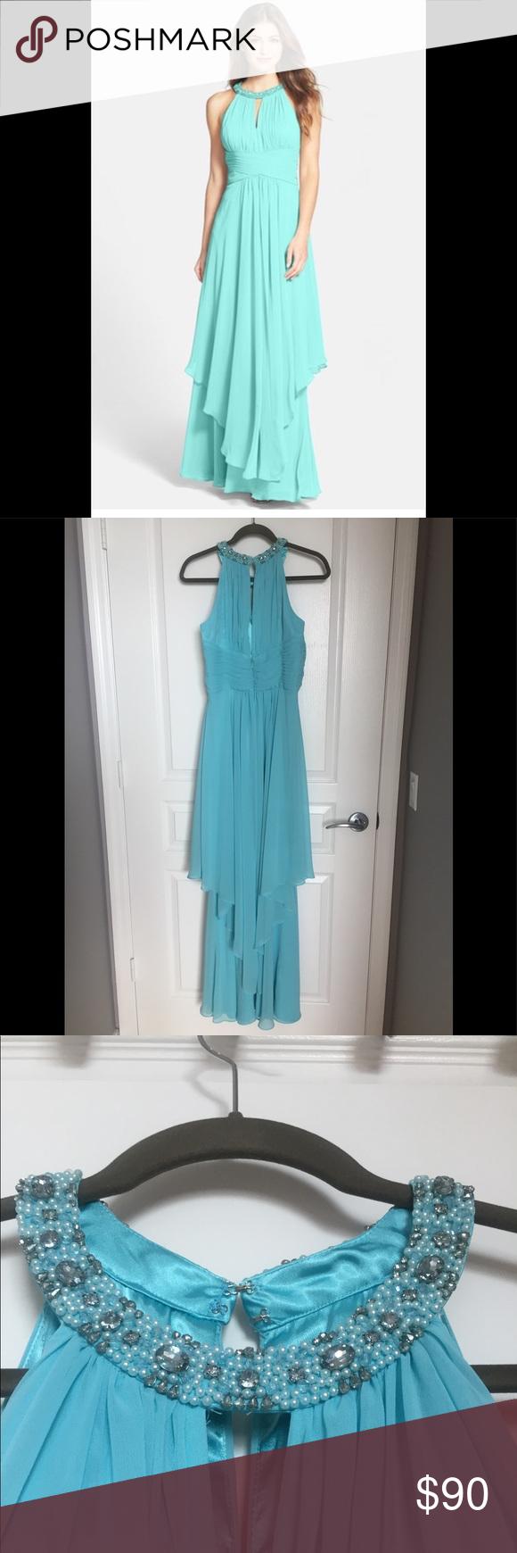 Eliza J Embellished Tiered Chiffon Halter Gown | My Posh Picks ...