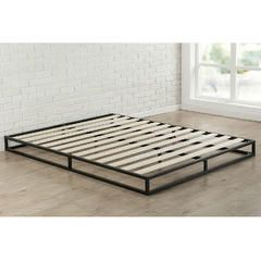 low profile 6-inch metal platform bed frame with wood mattress