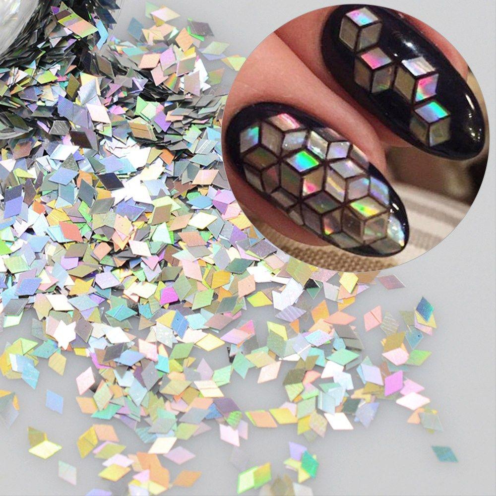 1 box holographic nail flakes rhombus diamond holo nail