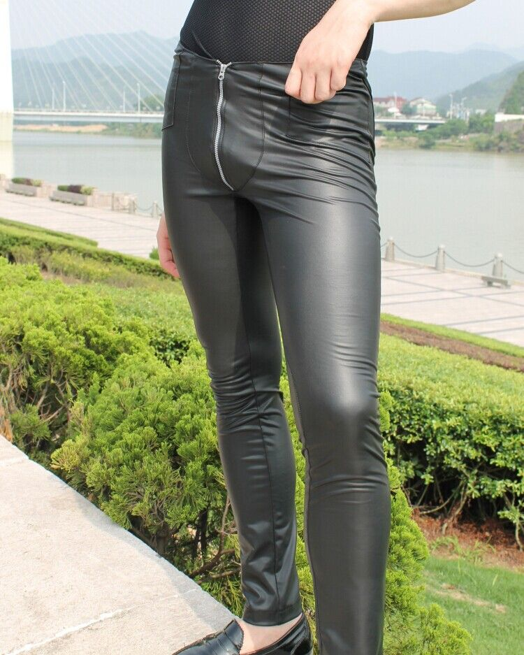 bf7d050f0e07b3 Click to Buy << Sexy Men Zipper Open Pencil Pants Low Rise Waist Faux Leather  Matte Leggings Slim Fit Tight Erotic Lingerie Club Wear FX1128 #Affiliate