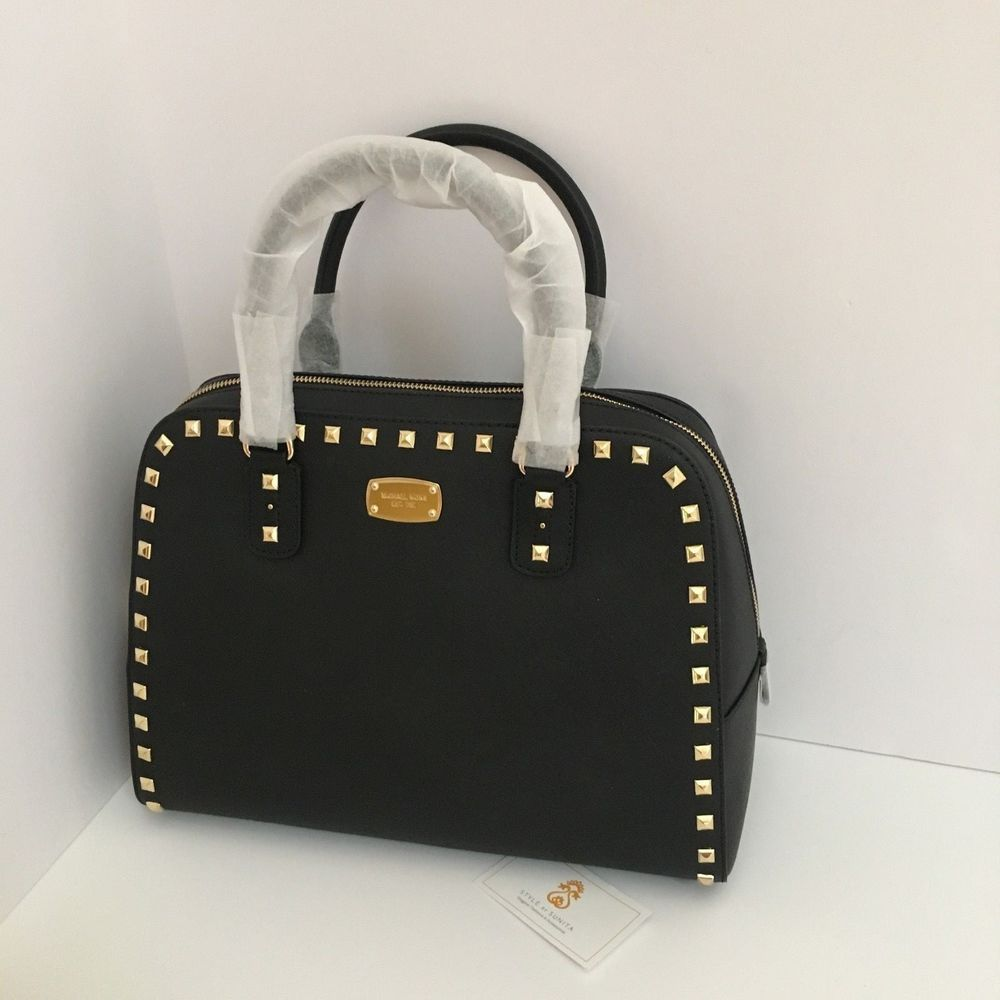 52842c39d89b Michael Kors Saffiano Leather Sandrine Gold Stud Large Satchel Bag Black  $428 #MichaelKors #TotesCrossBodyCrossbodySatchelTote