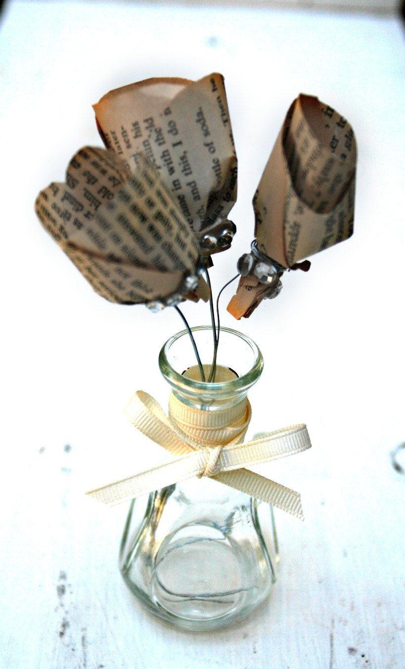 Repurposed Vintage Book Paper Flowers in a Simple Glass Bud Vase ...