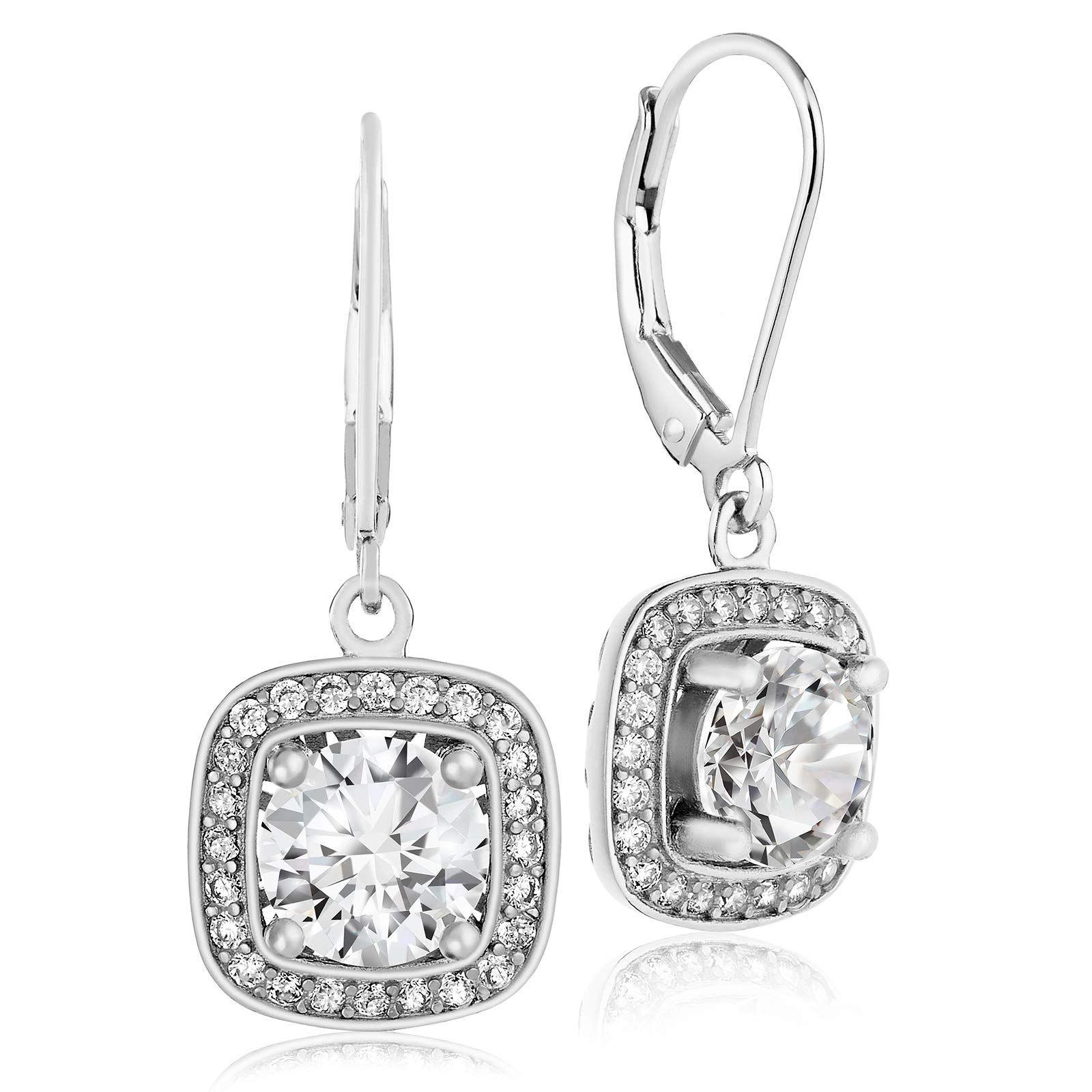 Round Cubic Zirconia Drop Dangle Earrings Leverback Wedding Jewelry Gift 1 Pair