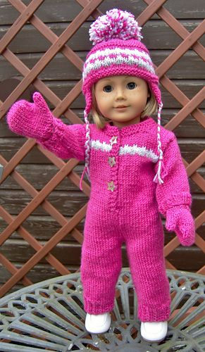 """Ravelry: American Girl Doll Cosy Onesie or Snuggly Snow Suit Set (for 18"""" Doll & for Bitty Baby/ Using a Modification on the legs) by Jacqueline Gibb (Instructions for a: One Piece Suit, Hat & Mitens...with the addition of the earflap hat & mittens it converts from a fashionable """"onesie"""" to a snow suit. )"""