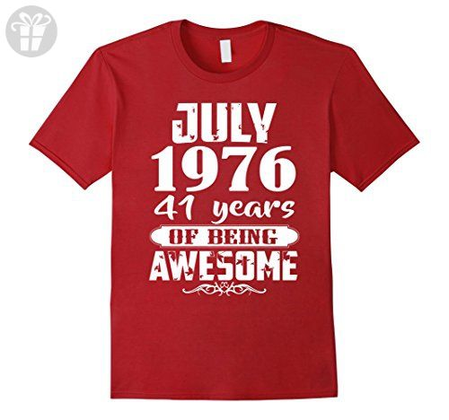 Mens Awesome July 1976 - 41th Birthday Gifts Funny Tshirt XL Cranberry - Birthday shirts (*Amazon Partner-Link)