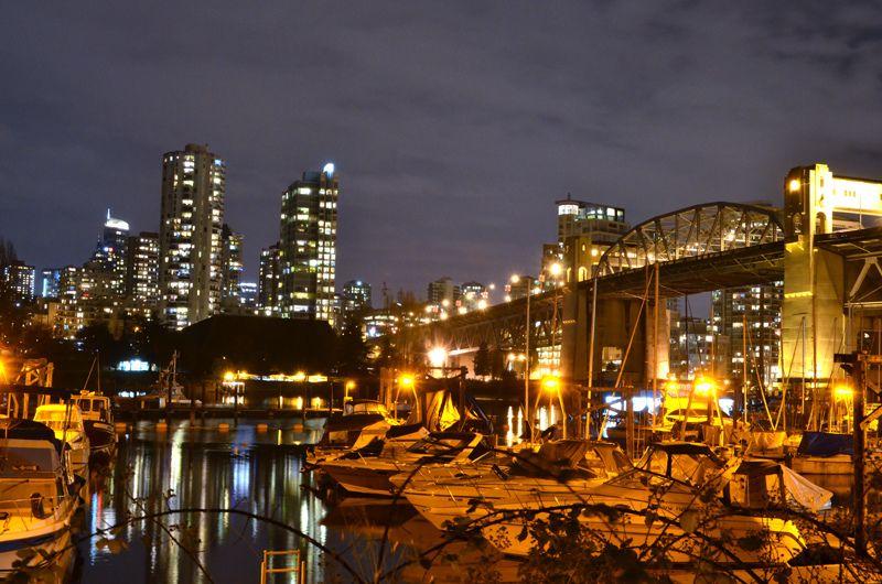 A night view of Burrard Bridge in Vancouver, BC.