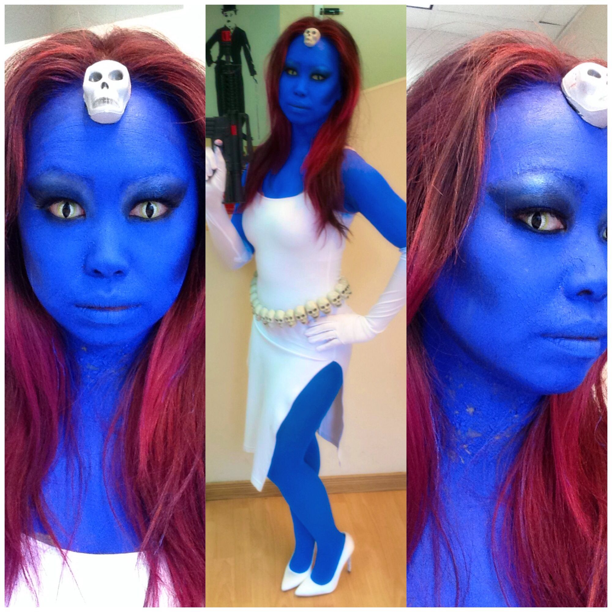 Costume makeup by Stay True Beauty. Our version of Mystique from X-men Comics. #Halloween2014 #DIY #Skeleton Belt