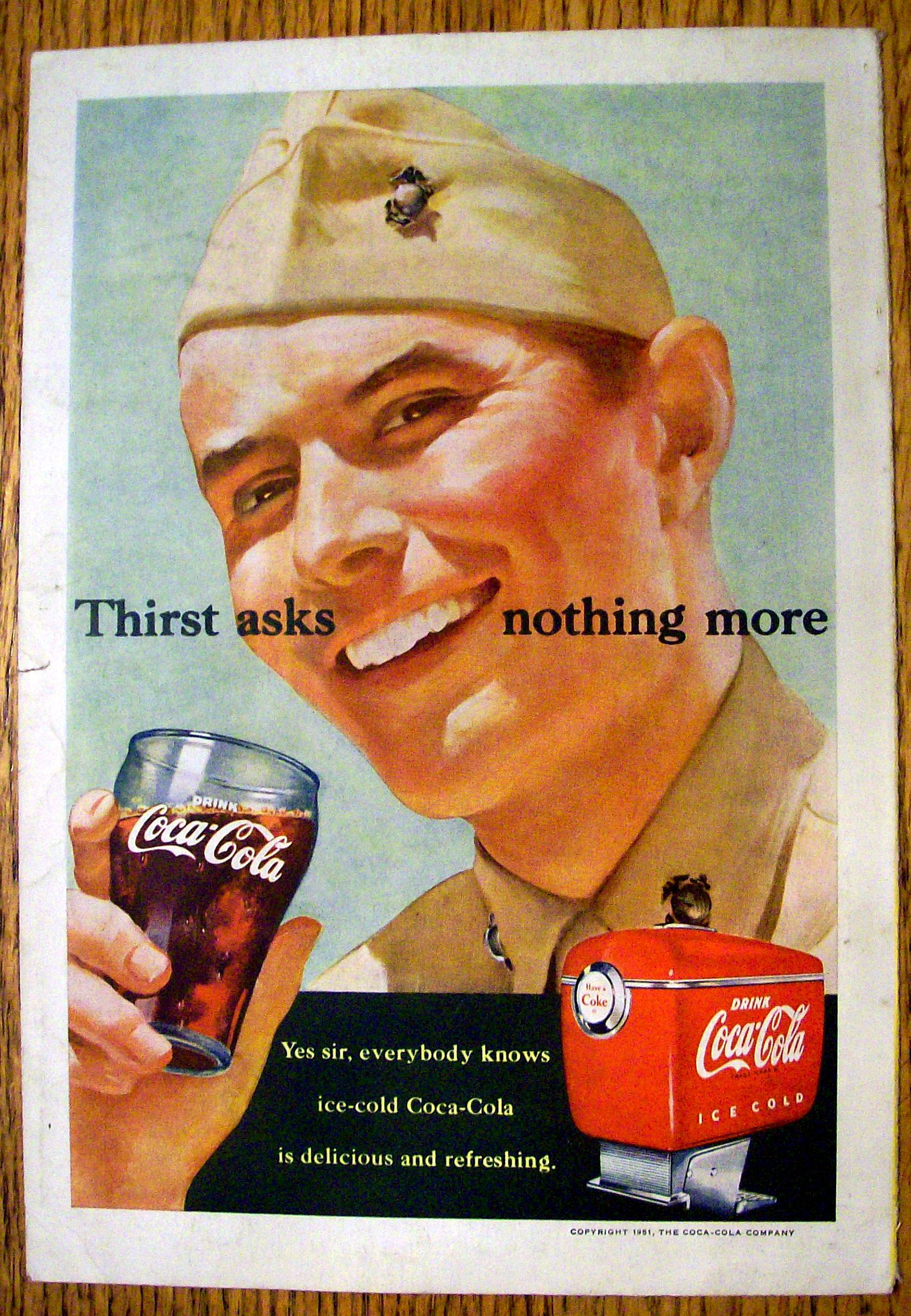 This fine vintage advertisement for a 1951 ad for coca cola coke is in good condition this vintage soda magazine ad measures approx