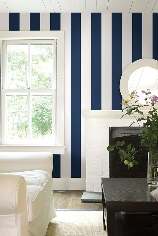 Nice Navy And White Feature Wall   Verticle Stripes To Draw The Eye Upward