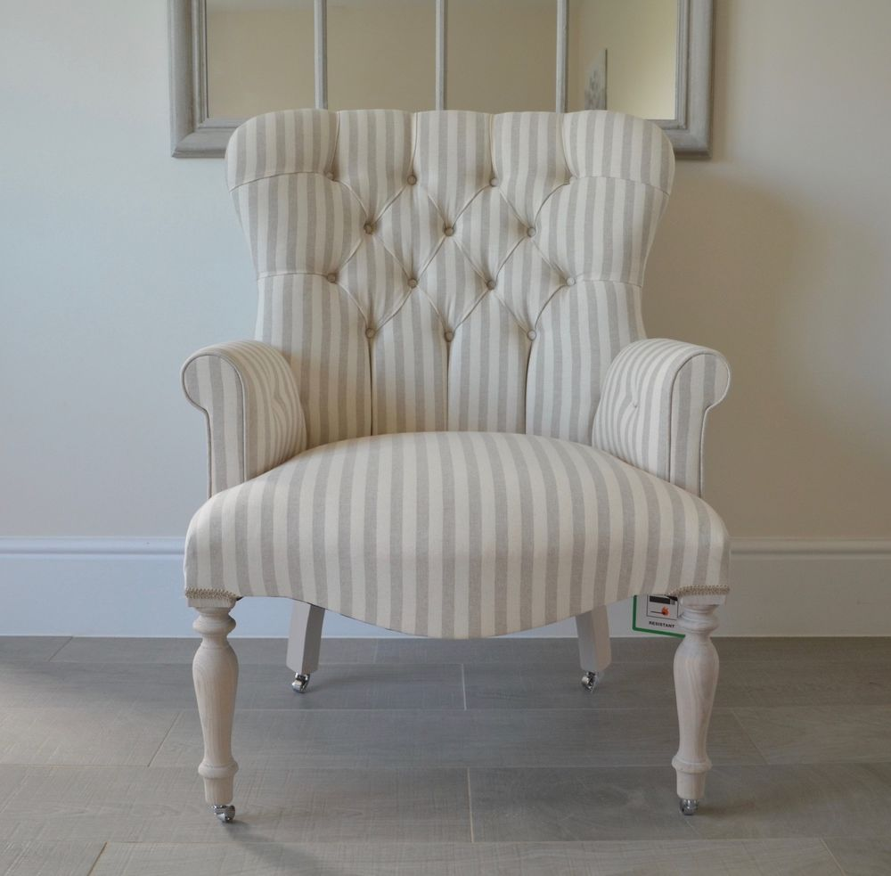 Fabulous Armchair White Grey Stripe Linen Chair Bedroom Chair Home Interior And Landscaping Dextoversignezvosmurscom