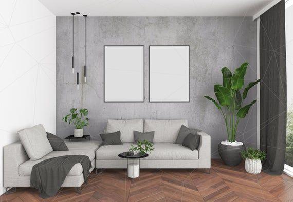 Blank Wall Mockup Art Lounge Interior Living Room Mockup ...