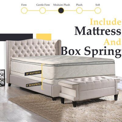 White Noise Apollonia 10 Medium Pillow Top Mattress And Box Spring In 2020 Mattress Pillow Top Mattress Bed Mattress