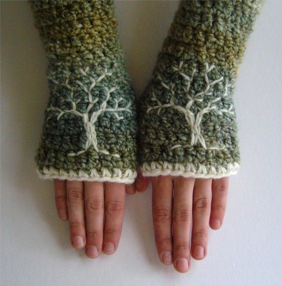 Womens Tree of Life Arm Warmers Embroidered Fingerless | Etsy