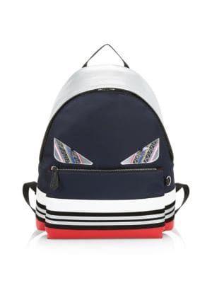 b5cd971fe4e6 FENDI Bugs Colorblock Striped Backpack.  fendi  bags  leather  polyester   backpacks