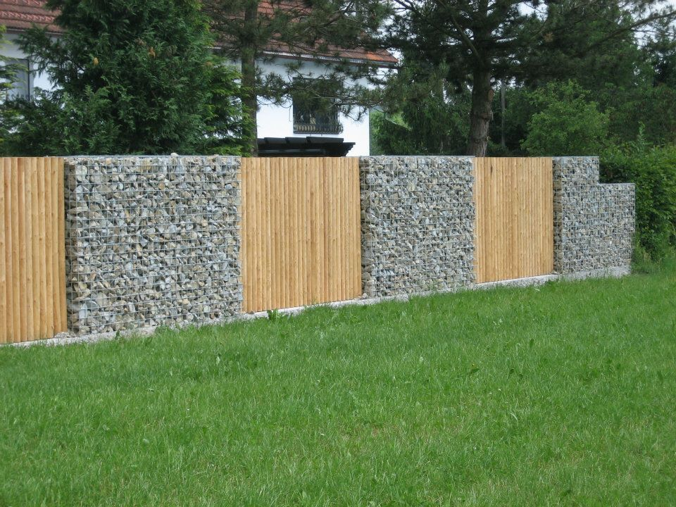 Gabion Fence Use Pallet Wood Panels If Gabions Are