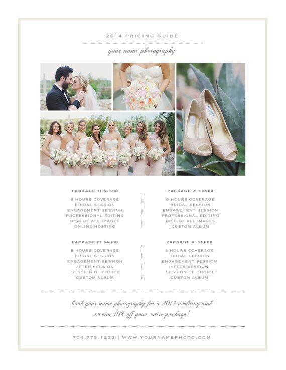 Price List Templates Photography Price List Template  Pricing Guide  Branding Templates .