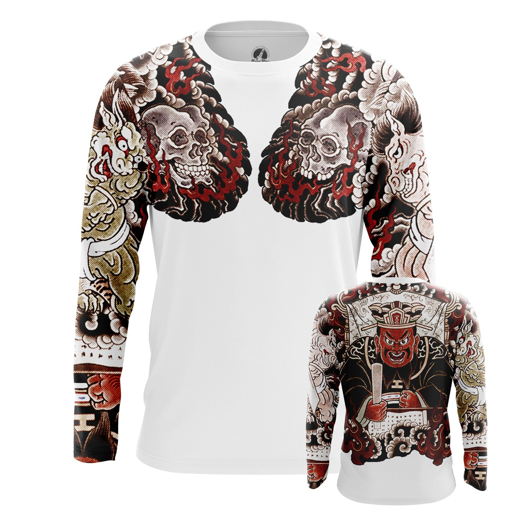 Men's long sleeve Yakuza white Tattoo Sleeves Fake