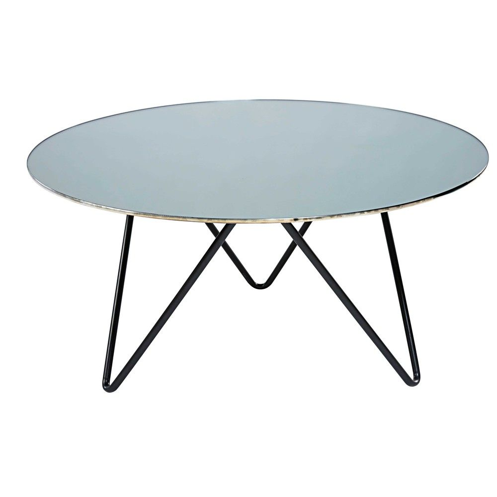 Table Basse En Verre Trempe Effet Miroir Et Metal Noir Maisons Du Monde Table Glass Coffee Table Folding Table