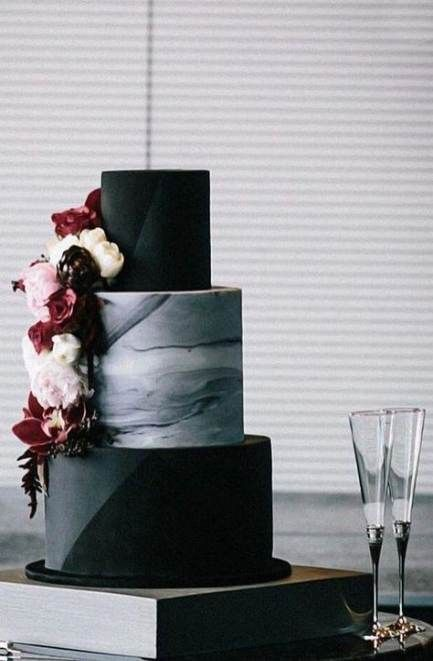15+  Ideas For Birthday Cake Black And White Simple Flower -   12 black cake Birthday ideas