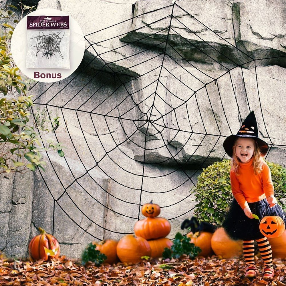 Giant Spider Web Haunted House Decorations Spooky Halloween Party - halloween house decoration