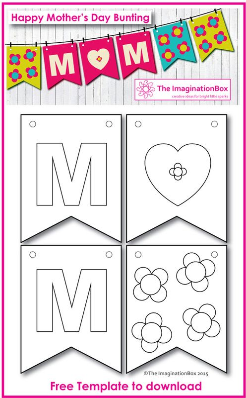 Colour And Make Your Own Pretty Mother S Day Bunting Template