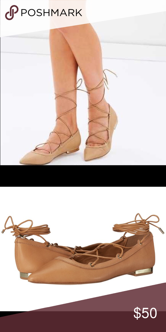 1a4b0cfe40f9 Aldo Alize Flat in nude Chic modern leather flat with ankle reaching  ballerina-inspired laces and gold toned hardware. Worn only once
