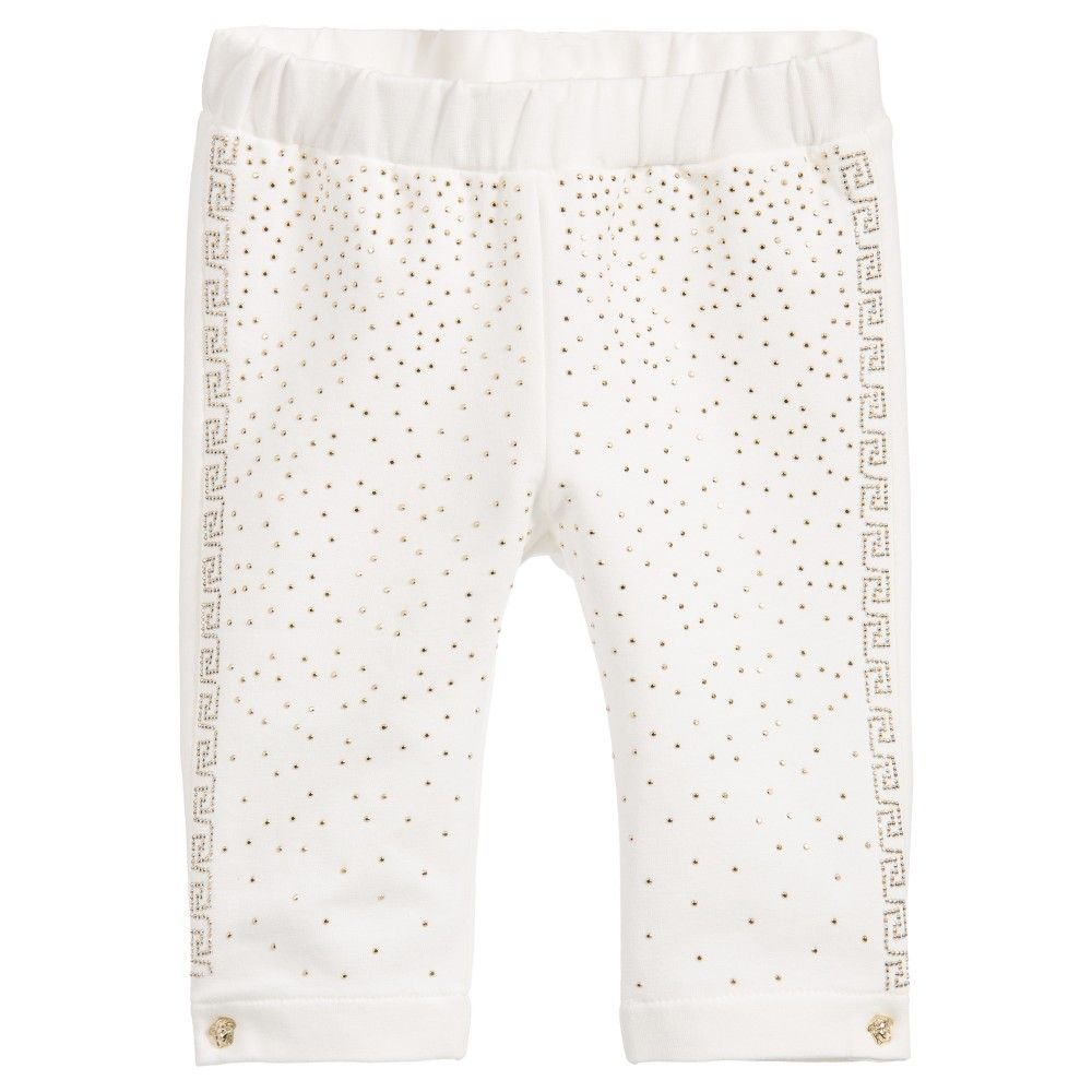 3cbf21652 Baby girls white leggings by Young Versace. Made in soft cotton jersey,  along the