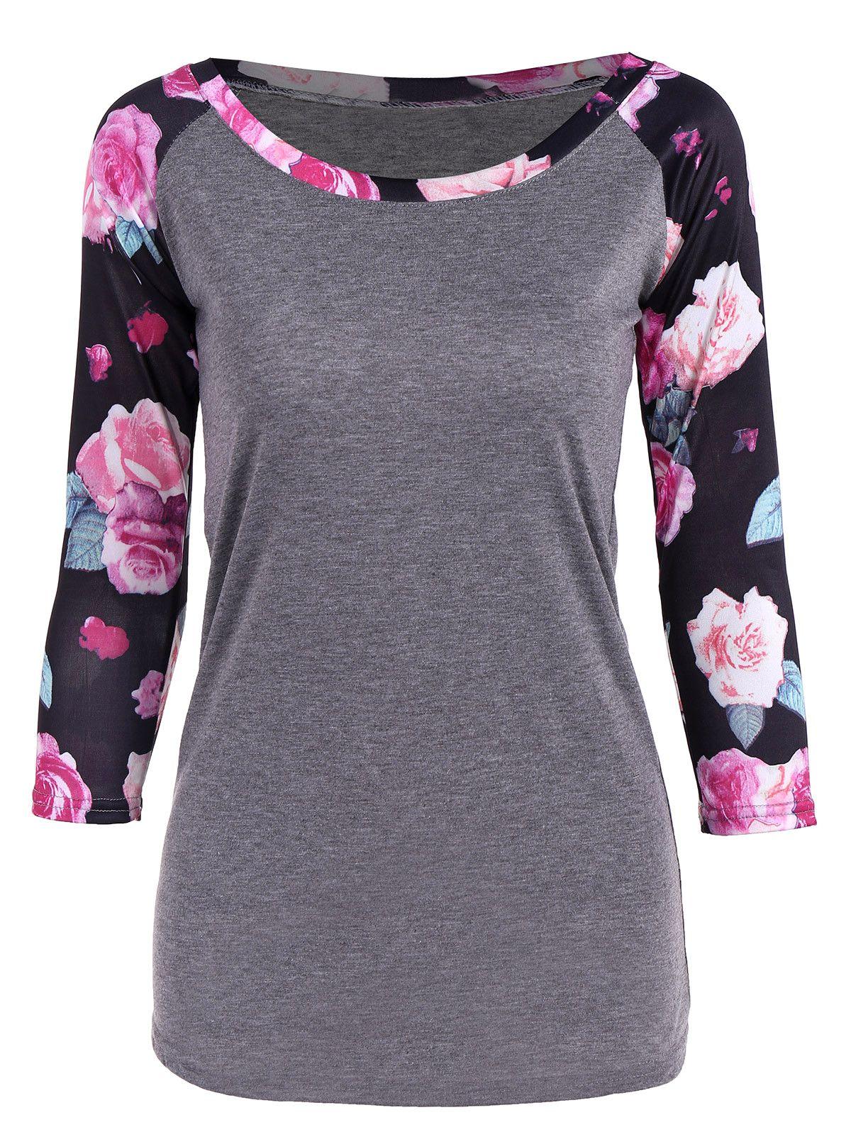 1435 floral print 34 sleeve tshirt fashion clothes