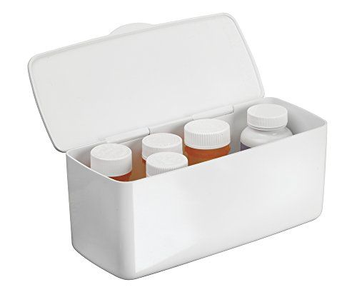 Bathroom Organization: mDesign Storage Box Organizer for Vitamins, Medicine, Medical, Dental Supplies with Hinged Lid - White >>> More info could be found at the image url.