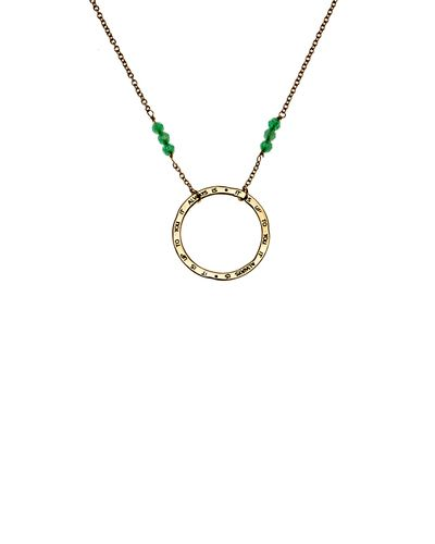 It Is Up To You Gold and Jade Necklace  Cool design with the circle pendant left free to spin.