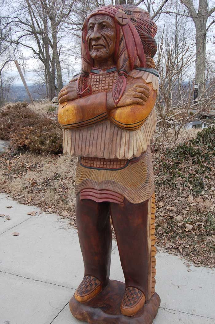 Wooden indian chief life size hand carved cigar store